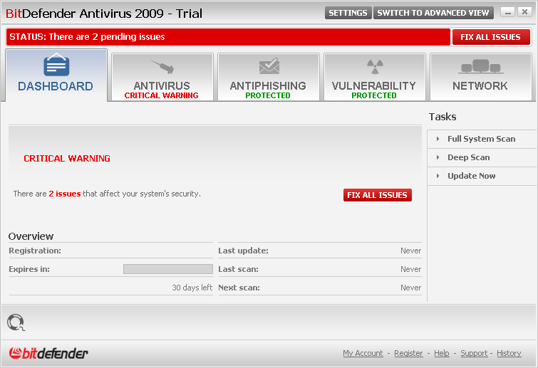 Click to view BitDefender Antivirus 2009 screenshot