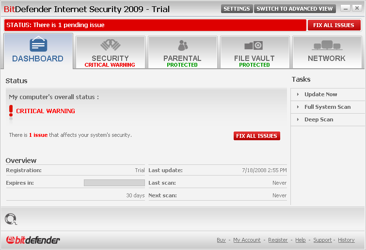 Click to view BitDefender Internet Security 2009 screenshot