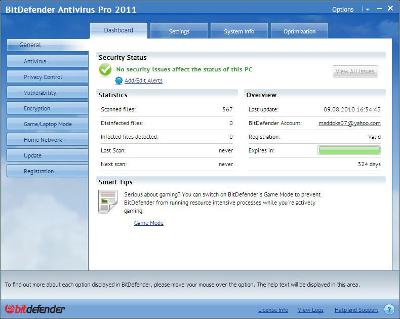 Antivirus&Internet Security BitDefender 2011  الشرح expert_dashboard.png