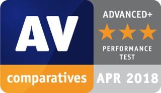 AV Comparatives utmärkelse för prestandatest 2018 bild