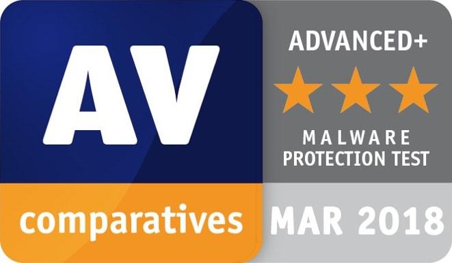 AV Comparatives utmärkelse för skydd mot skadlig kod april 2018 bild
