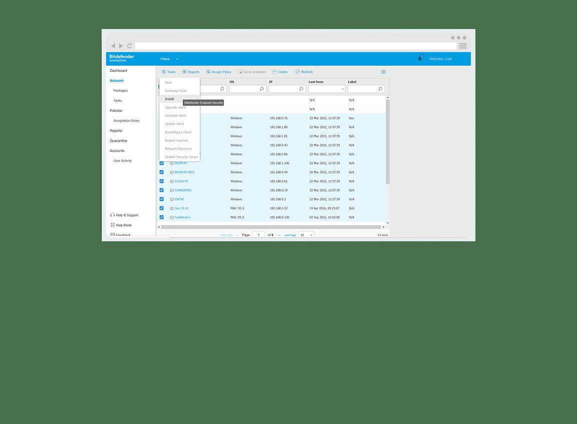 GravityZone Business Security-gränssnitt - Skärmbildexempel på nätverksinställningar
