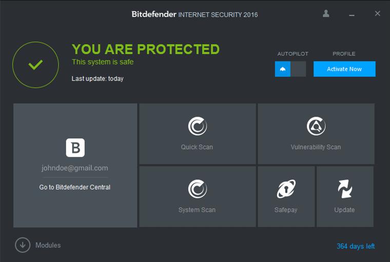Miễn phí bản quyền Bitdefender Internet Security 2016
