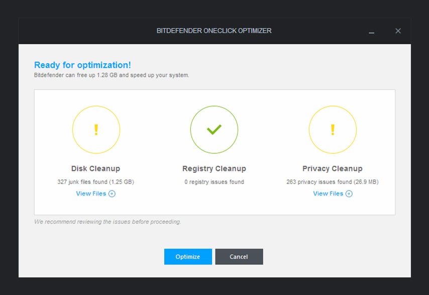 Bitdefender Internet Security 2015 - OneClick Optimizer 2