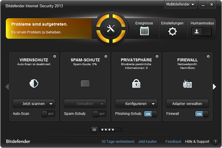Screenshot vom Programm: Bitdefender Internet Security