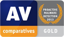 AV-Comparatives - gold - protecție proactivă 2013