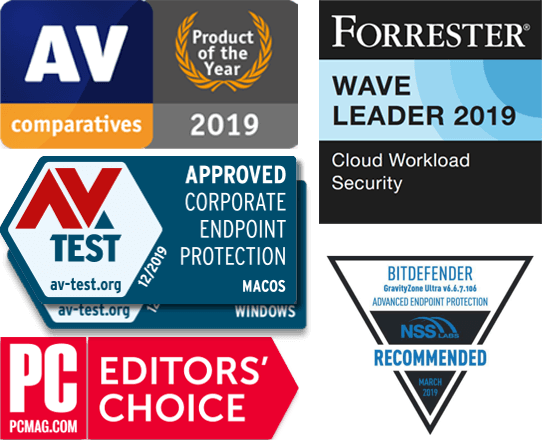 Afbeelding GravityZone 2020 Awards: AV Comparatives -product van 2019, Forrester Wave Leader 2019, AV Test - Corporate Endpoint Protection MACOS en Windows, NSS Recommended, PC Mag editors' choice.