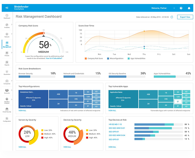 View your risk analytics in real-time inside GravityZone console