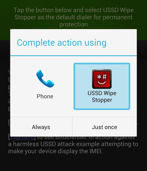 Bitdefender USSD Wipe Stopper for Android-running Devices